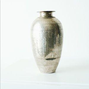 Anthropologie Metal Embossed Vase